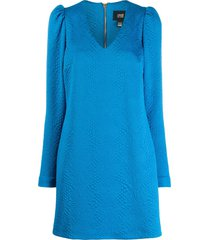 cavalli class textured puff-shoulder dress - blue