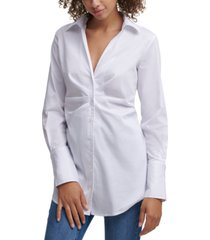 calvin klein jeans ruched button-front top