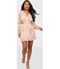 parisian floral frilly mini dress loose fit dresses