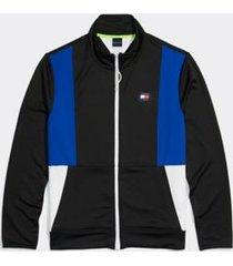 tommy hilfiger men's adaptive colorblock mockneck sweatshirt jet black/surf the web - l
