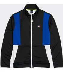 tommy hilfiger men's adaptive colorblock mockneck sweatshirt jet black/surf the web - l