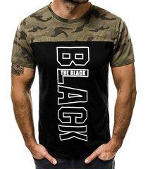 hombres summer casual camo color block letter t-shirt