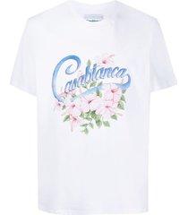 casablanca hibiscus logo-print organic cotton t-shirt - white