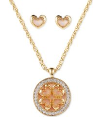 charter club gold-tone crystal & shell heart pendant necklace & stud earrings set, created for macy's