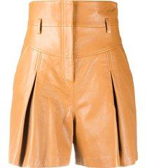 alberta ferretti pleated leather mini skirt - brown