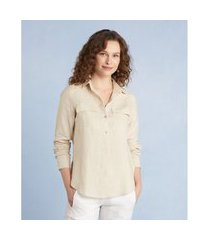 camisa manga longa bolsos cor: aveia - tamanho: pp