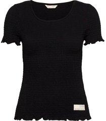 alluring smock t-shirt t-shirts & tops short-sleeved zwart odd molly