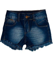 bermuda garota lua jeans shorts manabana menina azul jeans