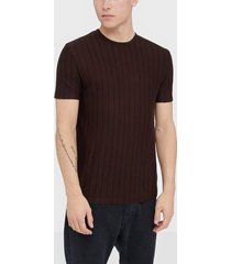 river island ss clean stripe vis/nyl tee t-shirts & linnen berry