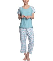 muk luks dream knit capri 2pc pajama set