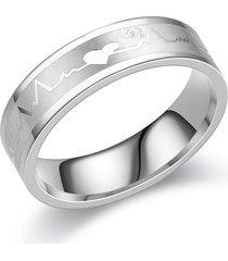 anillo de acero inoxidable con estampado de latidos del corazón de moda para hombre