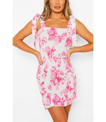 floral strappy shirred mini dress