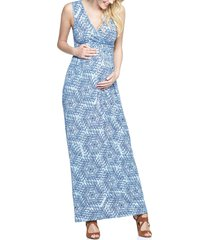 women's tart maternity 'marsha' maxi maternity dress, size medium - blue