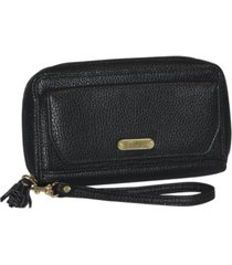 buxton synthetic leather with goldtone logo tech wallet