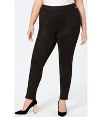 calvin klein plus size faux-suede skinny pants