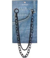 mens black double wallet chain*