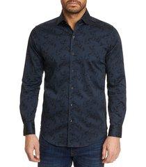 robert graham men's davino printed sport shirt - black - size s