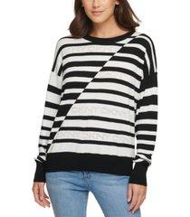 dkny striped logo sweater