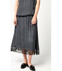 grafitowa spódnica midi z koronką