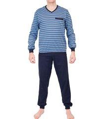 schiesser pyjama v-hals met boord grijs