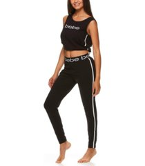 bebe cropped top logo pant set