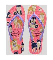 chinelo feminino havaianas slim estampado de cachorros rosa
