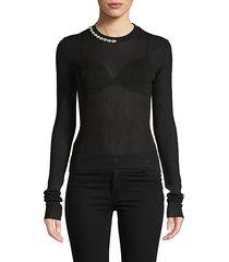 embellished neck ribbed sweater