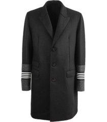 neil barrett black wool single-breasted coat