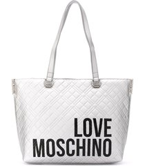 love moschino diamond-quilt logo tote bag - silver