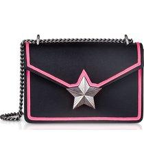les jeunes etoiles designer handbags, black & neon pink leather new vega trim shoulder bag