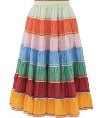 riders rickrack-trim cotton midi skirt