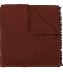 brioni lightweight frayed scarf - red
