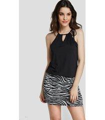 yoins negro ajustable cuello correa zebra impresión mini vestido