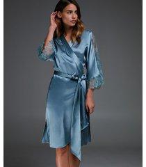 hunkemöller kimono i silke och spets blå