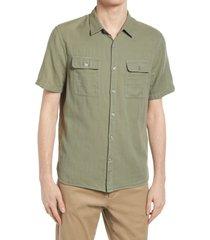 men's vince double face short sleeve button-up shirt, size xx-large - green