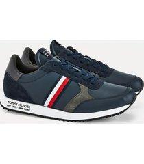 zapatilla runner lo leather stripes azul tommy hilfiger