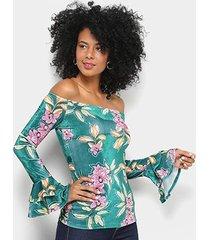 blusa colcci ombro a ombro veludo estampada feminina