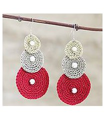 crocheted dangle earrings, 'triple disc' (india)