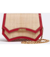 madeline evening raffia and leather clutch