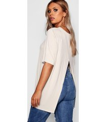 plus jersey split open back t-shirt, stone