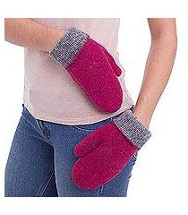 100% alpaca reversible mittens, 'fuchsia sophistication' (peru)
