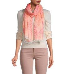 saachi women's chevron floral-print scarf - coral