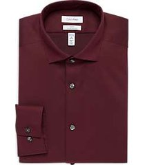 calvin klein infinite non-iron burgundy slim fit dress shirt