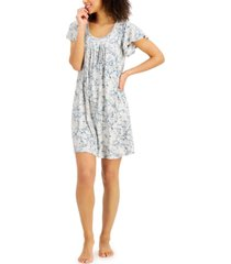 charter club printed pleat-front chemise nightgown, created for macy's