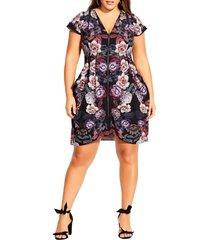 plus size women's city chic floral print zip front tunic