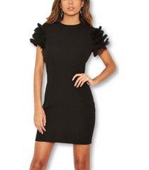 ax paris women's ruffle mesh sleeve bodycon dress