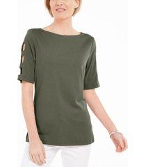 karen scott cotton cutout-sleeves top, created for macy's