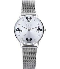 orologio solo tempo con cinturino maglia milanese e cassa in acciaio silver, quadrante con topolino e strass per donna