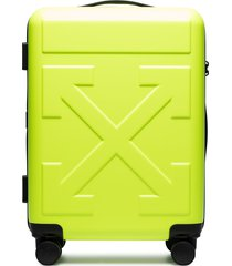off-white arrow-detail trolley suitcase - yellow