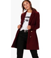 petite double breasted military duster coat, burgundy